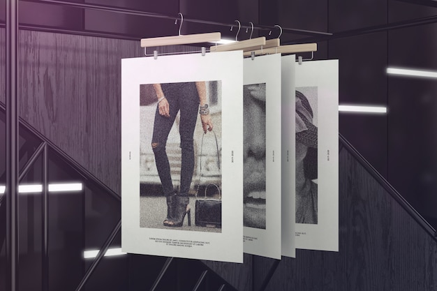 Exhibition of hanging posters mockup