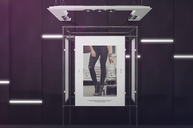 Exhibition poster stand mockup