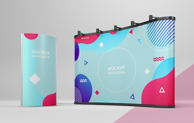 Exhibition stand mock-up composition