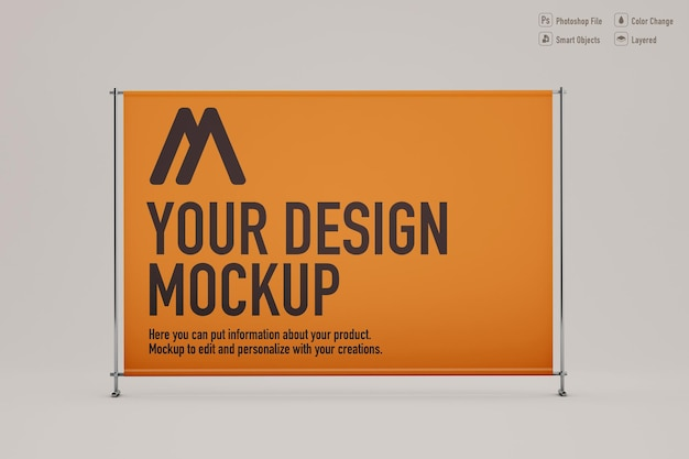 Exhibitor banner mockup on soft color