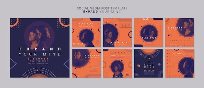 Espandi la tua mente modello di post sui social media