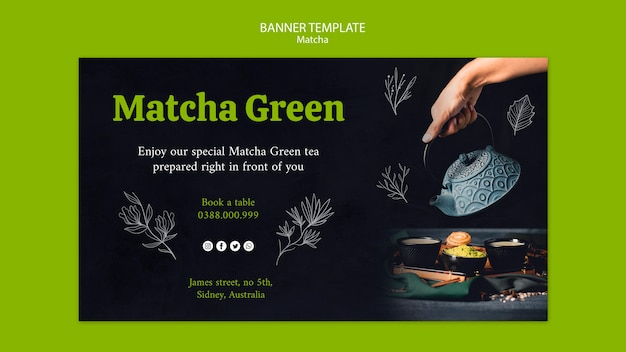 Experience nature with matcha tea banner
