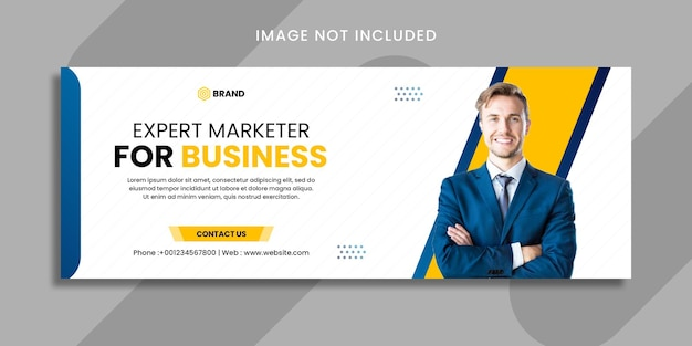 Expert marketer with grow your business social media banner or facebook cover template