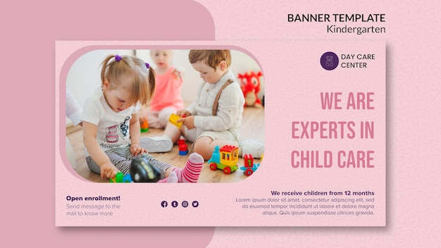 Experts in child care kindergarten banner template