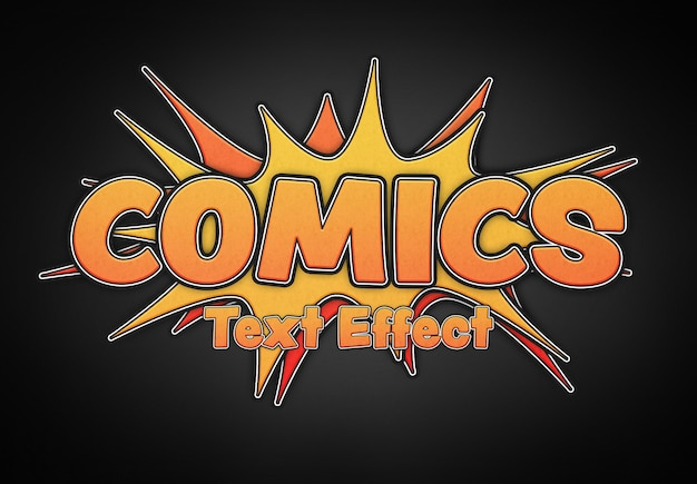 Exploding comics text effect mockup