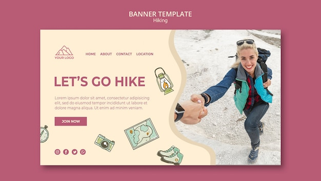 Exploration and hiking banner template