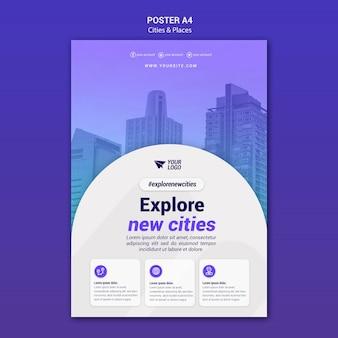 Esplora città e luoghi modello di poster