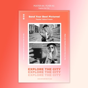 Explore the city poster print template
