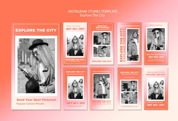 Explore the city social media stories template