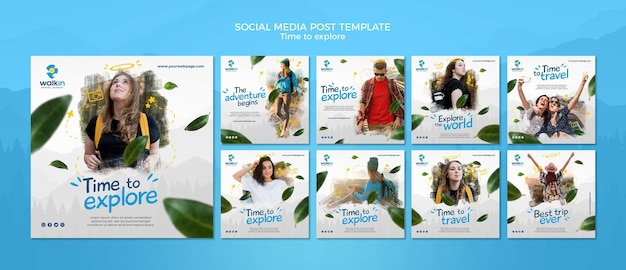 Explore concept social media post template