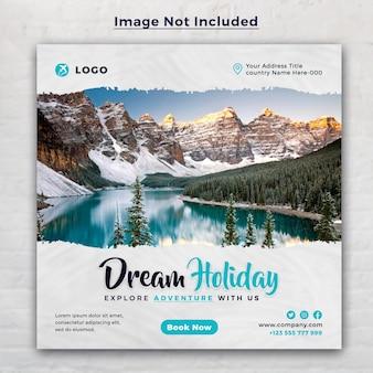 Изучите социальные сети и шаблон баннера туристического агентства мечты