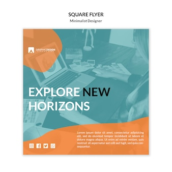 Explore new horizons square flyer template