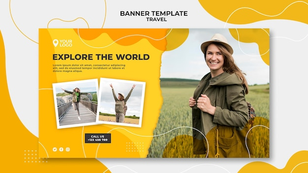 Explore the world banner template