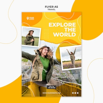 Explore the world flyer template