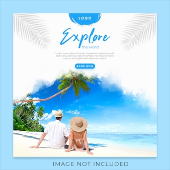 Explore the world social media banner template
