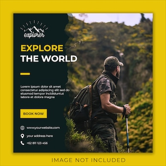 explore world social media banner template 5