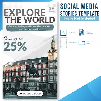 Explore the world special discount offer social media stories web banner template