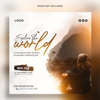 Explore world travel agency social media and banner template