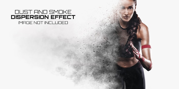 Explosion dispersion photo effect mockup