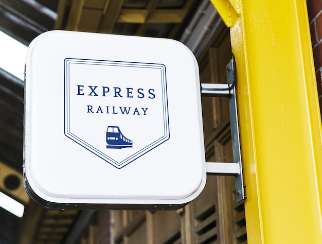 Express railway station signage mockup