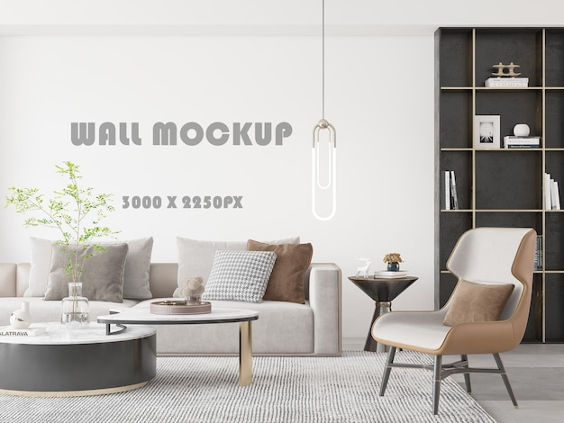 Extensive wall mockup behind the ceiling lamp in the deluxe living room