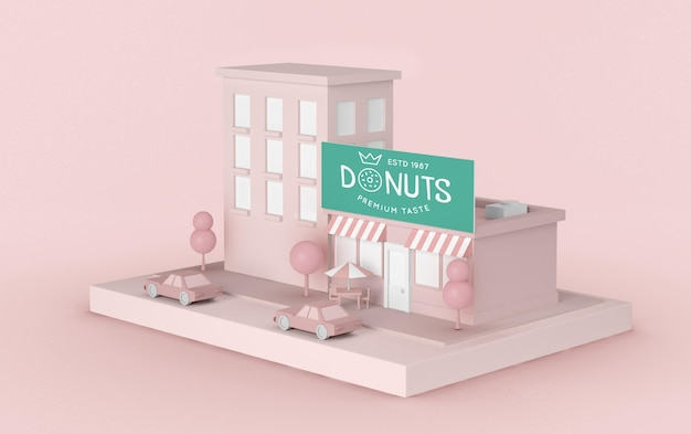 Exterior advertising donuts store