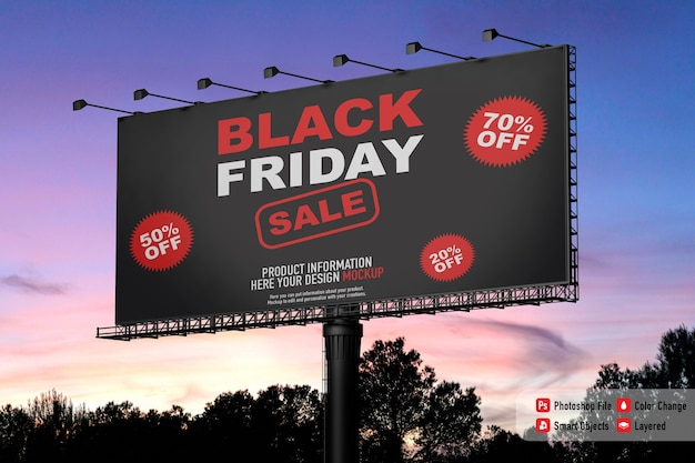 Exterior banner mockup for black friday with sunset sky