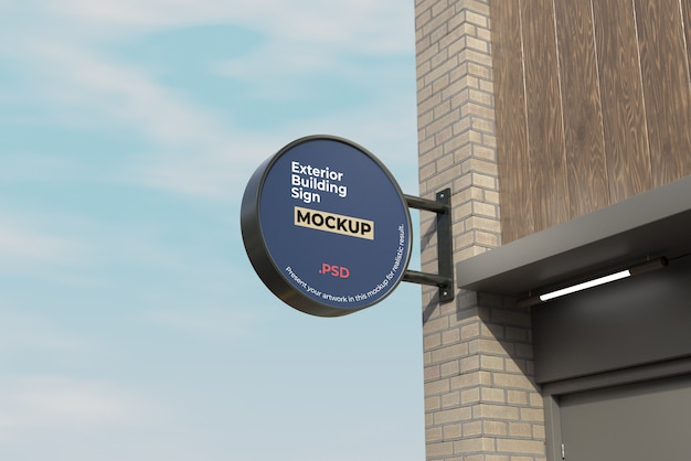 Exterior building sign mockup circle style