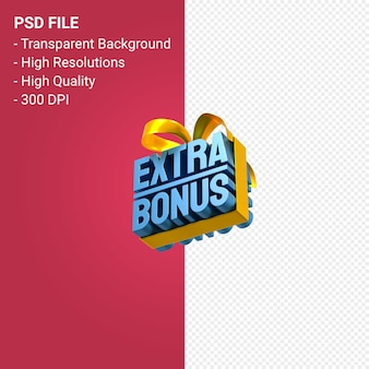 Extra bonus sale with bow and ribbon 3d design isolated