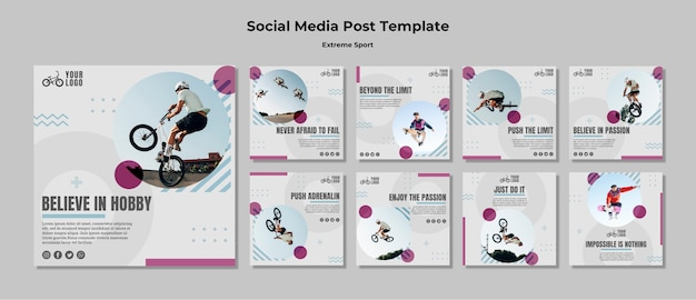 Extreme sport social media post template