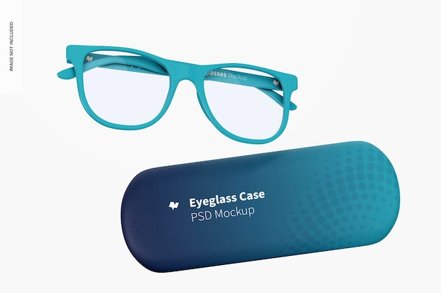 Eyeglass cases mockup, falling