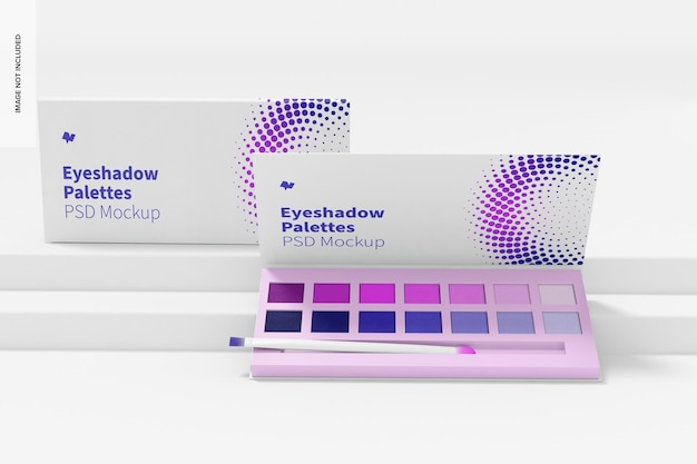 Eyeshadow palettes mockup, opened and closed