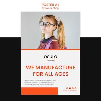 Modello di poster di concetto di negozio di occhiali