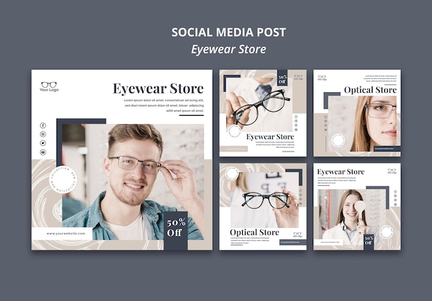 Сообщение о магазине очков в социальных сетях