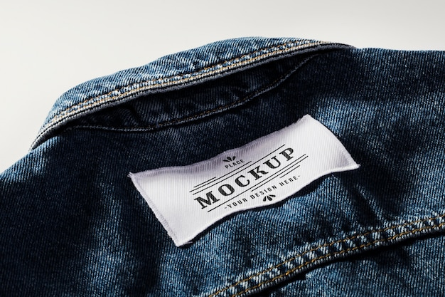 Fabric clothing patch mock-up on denim