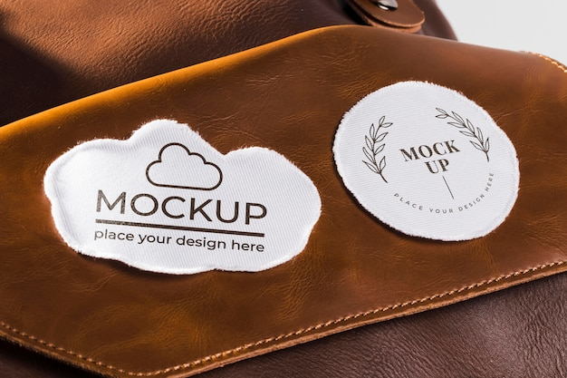 Fabric clothing patch mock-up on leather bag