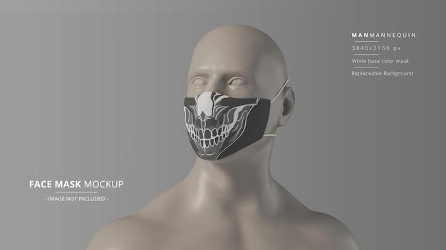 Fabric face mask mockup front view looking up man 마네킹 headloop