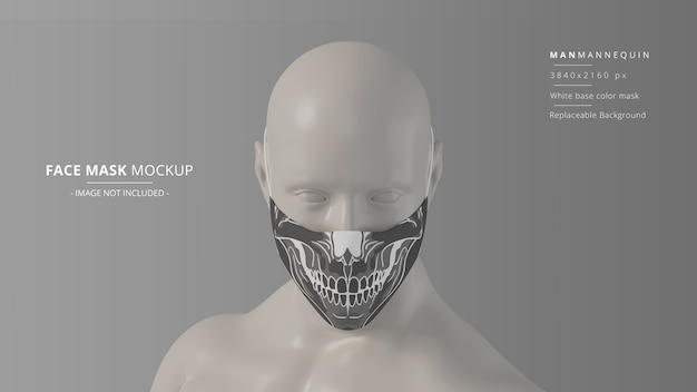 Fabric face mask mockup front view man mannequin headloop