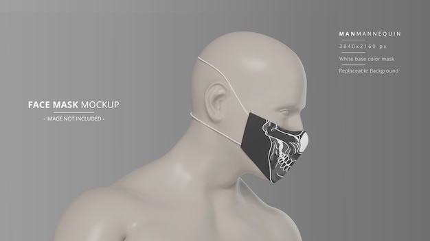 Fabric face mask mockup side view man mannequin headloop