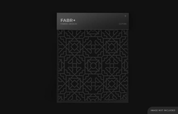Мокап образца ткани на черной бумажной основе