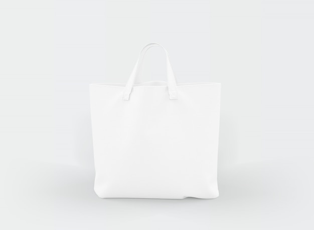 Fabric tote bag on white