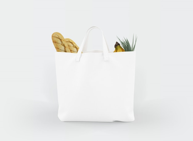 Fabric tote bag with food inside