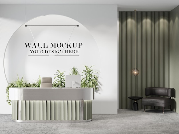 Fabulous small reception desk wall for your logo or brand name