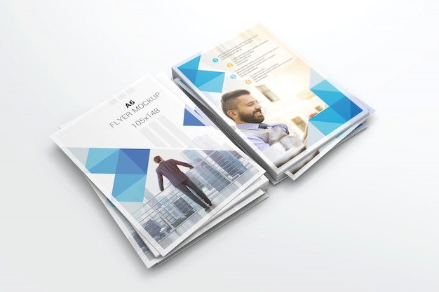 Face and back a6 flyer stack mockup