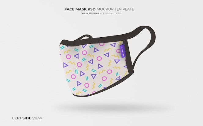 Face mask mockup in left side view