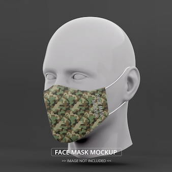 Face mask mockup perspective view man mannequin