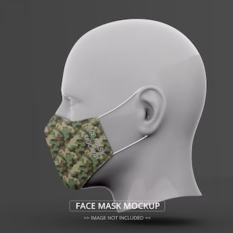 Face mask mockup side view man mannequin
