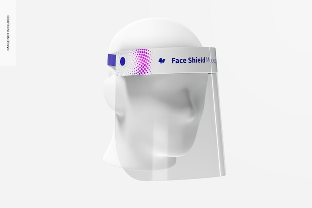 Face shield with head mockup, 3/4 front left view