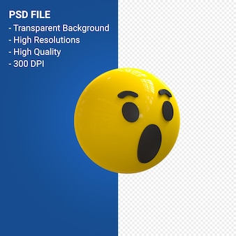 Facebook 3d emoji reactions wow, like isolated