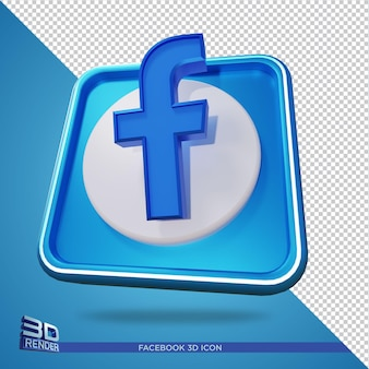 Facebook 3d rendering icon isolated
